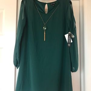 Green long sleeve mini dress with necklace